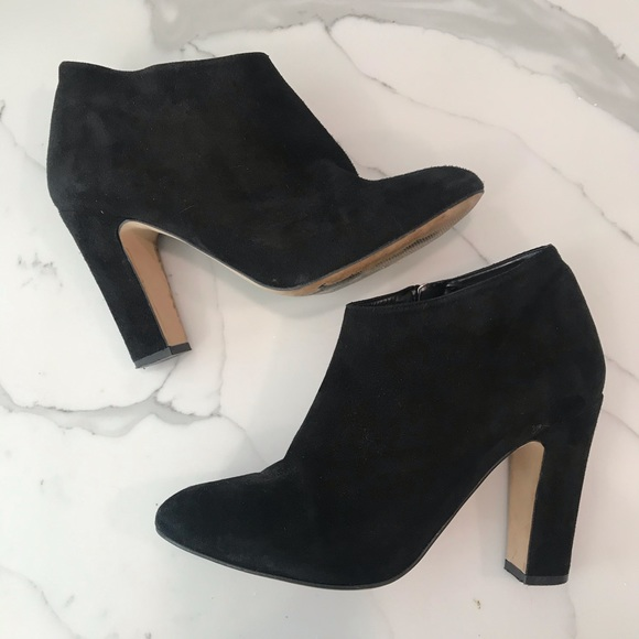Dune Black Suede Ankle Booties Size 40